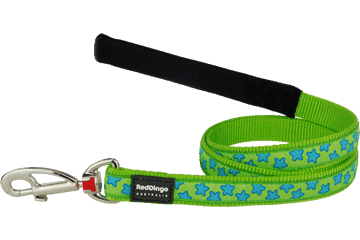 Red Dingo Fixed Length Lead Stars Lime Green L4-ST-LG