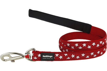 Red Dingo Fixed Length Lead Stars Red L4-ST-RE