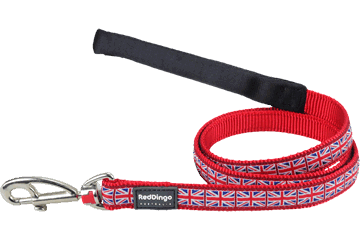 Red Dingo Fixed Length Lead Union Jack Red L4-UK-RE