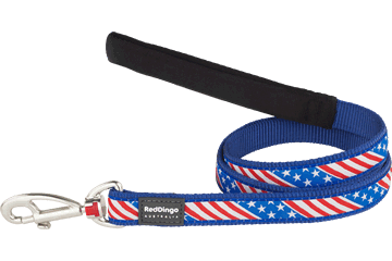 Red Dingo Fixed Length Lead Stars & Stripes Dark Blue L4-US-DB