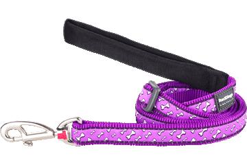 Red Dingo Adjustable Lead Flying Bones Purple L6-FL-PU