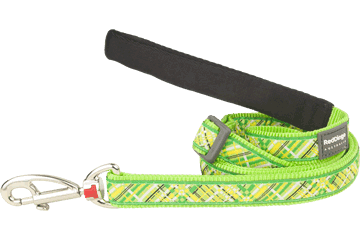 Red Dingo Adjustable Lead Flanno Lime Green L6-FN-LG