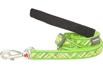 Red Dingo Adjustable Lead Flanno Lime Green L6-FN-LG