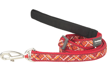 Red Dingo Adjustable Lead Flanno Red L6-FN-RE