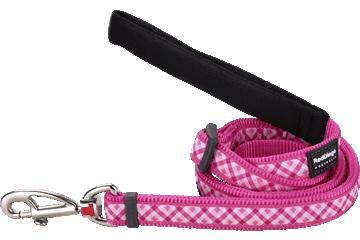 Red Dingo Adjustable Lead Gingham Hot Pink L6-GI-HP