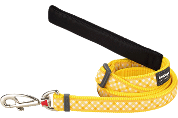 Red Dingo Adjustable Lead Gingham Yellow L6-GI-YE