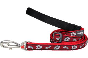 Red Dingo Adjustable Lead Hibiscus Red L6-HI-RE