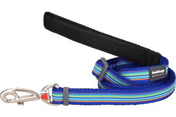 Red Dingo Adjustable Lead Horizontal Stripes Dark Blue L6-HO-DB