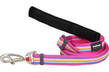 Red Dingo Adjustable Lead Horizontal Stripes Hot Pink L6-HO-HP