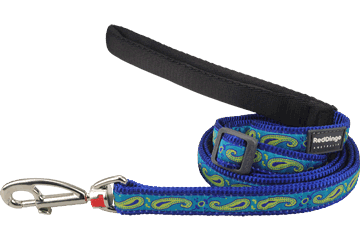 Red Dingo Adjustable Lead Paisley Dark Blue With Green L6-P2-DB