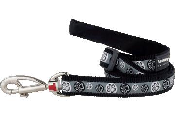 Red Dingo Adjustable Lead Paw Impressions Black L6-PI-BB