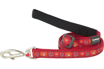 Red Dingo Adjustable Lead Paw Impressions Red L6-PI-RE