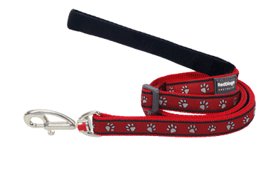 Red Dingo Adjustable Lead Paw Prints Red L6-PP-RE
