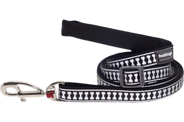 Red Dingo Adjustable Lead Reflective Bones Black L6-RB-BB