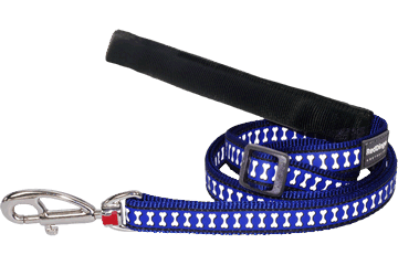 Red Dingo Adjustable Lead Reflective Bones Dark Blue L6-RB-DB