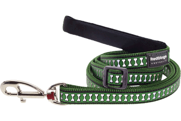 Red Dingo Adjustable Lead Reflective Bones Green L6-RB-GR (RDLS20518 / RDLM20518 / RDLL20518)