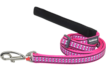 Red Dingo Adjustable Lead Reflective Bones Hot Pink L6-RB-HP