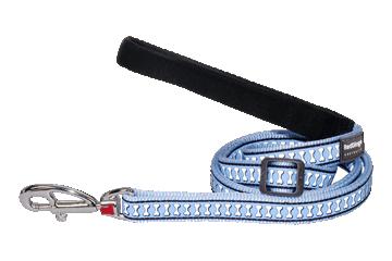 Red Dingo Verstellbare Leine Reflektierende Knochen Hellblau L6-RB-LB