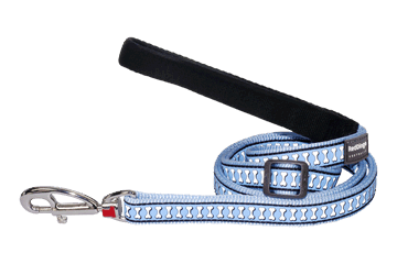 Red Dingo Adjustable Lead Reflective Bones Light Blue L6-RB-LB
