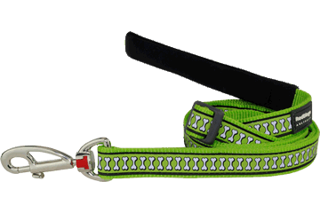Red Dingo Adjustable Lead Reflective Bones Lime Green L6-RB-LG