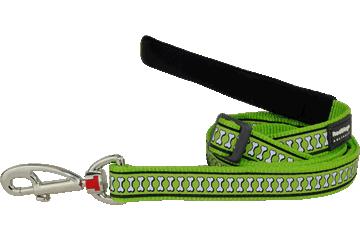 Red Dingo Adjustable Lead Reflective Bones Lime Green L6-RB-LG