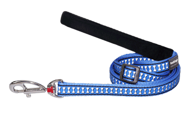 Red Dingo Adjustable Lead Reflective Bones Medium Blue L6-RB-MB