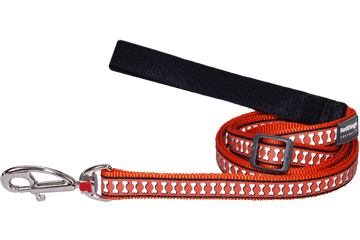 Red Dingo Adjustable Lead Reflective Bones Orange L6-RB-OR