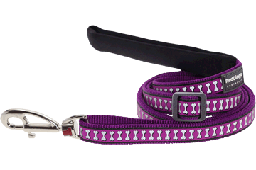 Red Dingo Adjustable Lead Reflective Bones Purple L6-RB-PU (RDLS20718 / RDLM20718 / RDLL20718)