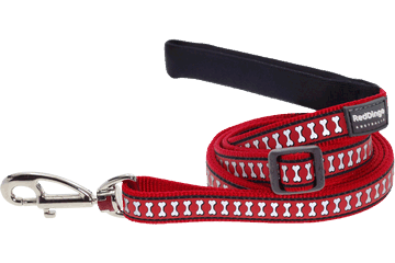 Red Dingo Adjustable Lead Reflective Bones Rot L6-RB-RE