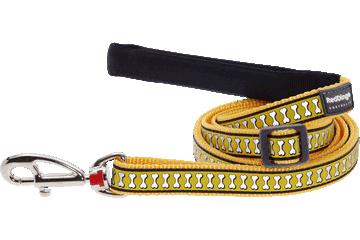 Red Dingo Adjustable Lead Reflective Bones Yellow L6-RB-YE