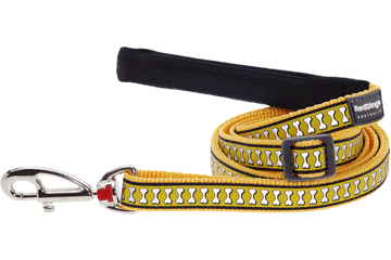 Red Dingo Adjustable Lead Reflective Bones Yellow L6-RB-YE (RDLS20618 / RDLM20618 / RDLL20618)