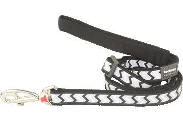 Red Dingo Adjustable Lead Reflective Ziggy Black L6-RZ-BB
