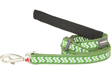 Red Dingo Adjustable Lead Reflective Ziggy Green L6-RZ-GR