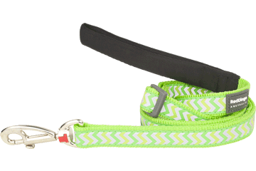 Red Dingo Adjustable Lead Reflective Ziggy Lime Green L6-RZ-LG
