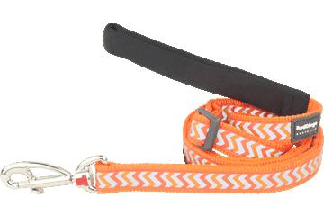 Red Dingo Adjustable Lead Reflective Ziggy Orange L6-RZ-OR