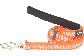 Red Dingo Adjustable Lead Reflective Ziggy Orange L6-RZ-OR