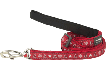 Red Dingo Adjustable Lead Santa Paws Red L6-SP-RE