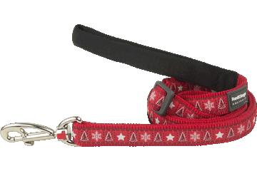 Red Dingo Adjustable Lead Santa Paws Red L6-SP-RE