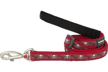 Red Dingo Adjustable Lead Skull & Roses Red L6-SR-RE