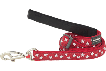 Red Dingo Adjustable Lead Stars Red L6-ST-RE