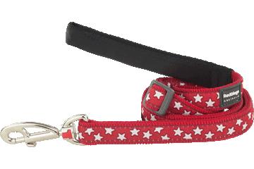 Red Dingo Adjustable Lead Stars Red L6-ST-RE
