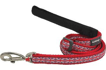 Red Dingo Adjustable Lead Union Jack Red L6-UK-RE