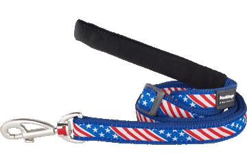 Red Dingo Adjustable Lead Stars & Stripes Dark Blue L6-US-DB