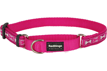 Red Dingo Martingale Collar Bone Yard Hot Pink MC-BY-HP