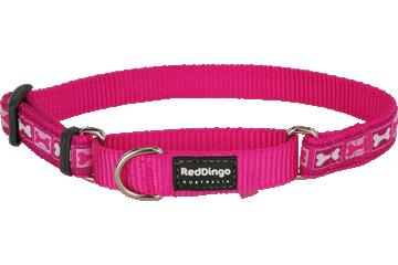 Red Dingo Martingale Collar Bone Yard Hot Pink MC-BY-HP