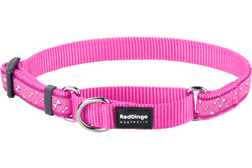 Red Dingo Martingale Collar Flying Bones Hot Pink MC-FL-HP