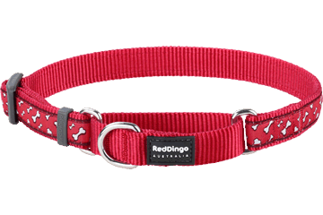 Red Dingo Martingale Collar Flying Bones Red MC-FL-RE