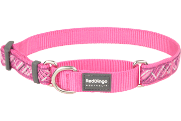 Red Dingo Zug-Stop Halsband Flanno Hot Pink MC-FN-HP