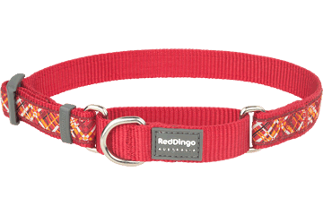 Red Dingo Zug-Stop Halsband Flanno Rot MC-FN-RE
