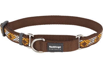 Red Dingo Martingale Collar Monty Brown MC-MY-BR